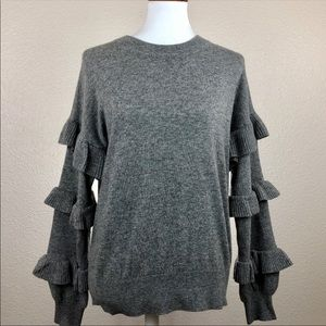 J. Crew pull over sweater ruffle sleeves Size S